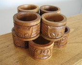 Vintage wood napkin rings.  Lot of 8.  Phillippines.