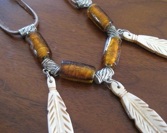 Bohemian beaded choker with feather design bone beads.  Ladies jewelry.