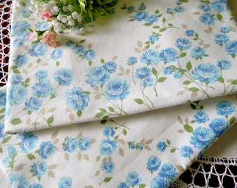 Vintage Pillowcases, Aqua and Blue Roses, Vintage Muslin Bedding, West Point Pepperell, Cottage Chic Vintage Linens By TheSweetBasilShoppe