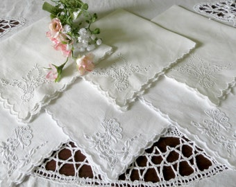 6 White Linen Napkins, Cocktail Napkins, Luncheon Napkins, White Work Embroidery, 2 Different Designs Vintage Linens by TheSweetBasilShoppe
