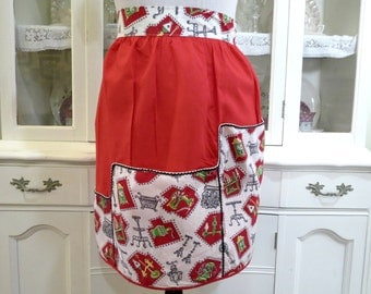Vintage Half Apron, Womens Apron, Bright Red Green Gray Cotton Print  Ric Rac Trim, Ladies Vintage Apparel by TheSweetBasilShoppe