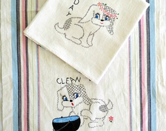 2 Vintage Tea Towels, Puppy Print Kitchen Towels, Sturdy Cotton Dish Towels, Kitschy Decor, Vintage Linens