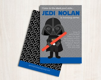 Darth Pool Party Invitation - Vader Swim Birthday - New Star Wars Party Supplies