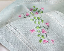Long embroidered table runner, vintage Swedish linen home decor, rose embroidery, aqua and pink
