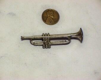 "vintage ladies sterling silver Trumpet brooch 1/2"" x 2-1/2"" E-283"