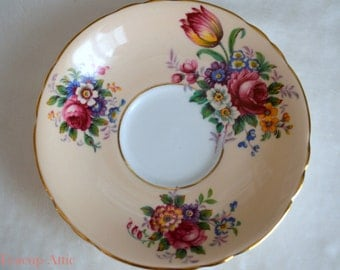 Paragon Peach Floral Replacement Saucer, English Bone China Replacement Saucer. ca. 1960