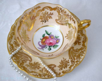 ON SALE Paragon Peach Teacup and Saucer With Gold Overlay And Floral Center, English Bone China Tea cup Set, Cabinet Teacup, ca. 1952-1960