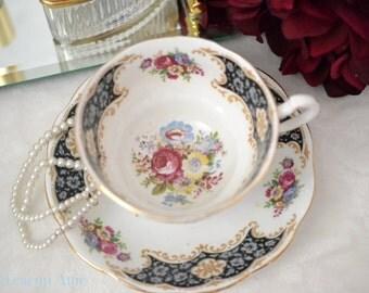 Royal Standard Navy Blue Floral Teacup and Saucer Set, English Bone China Tea Cup Set, Garden Tea Party, Wedding Gift, ca. 1949