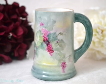 T  V Limoges Antique Hand Painted Tankard, Tressemanes & Vogt French Stein, ca. 1892-1907