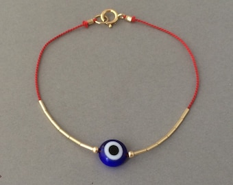 Evil Eye Silk Thread Gold Fill Bracelet also available in Silver
