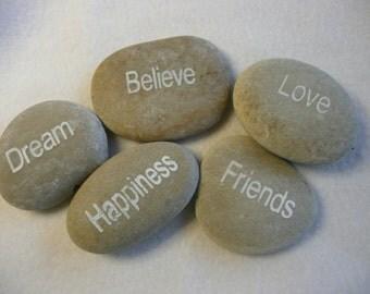 Hand Carved Inspirational River Rocks  Dream Set of 5