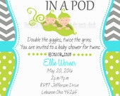 Baby Shower invitation,  Two Peas in a Pod,  For Twin Boys,   Customized, Print your own