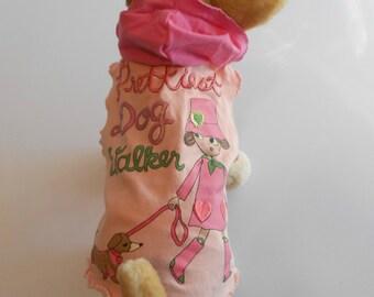 "Orange & Pink ""Prettiest Dog Walker"" Small Dog T-shirt Hoodie-One of a Kind"