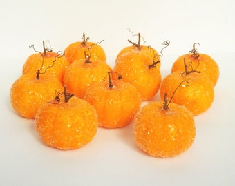Decorative Pumpkin German Glass Glitter Small Pumpkin Thanksgiving Fall Table Decor Set of 3