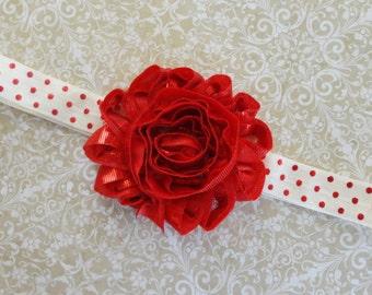 Baby Headband, Red Metallic Flower Headband,Trendy Red  Headband, Ivory Red Dot Headband, Girls Headband