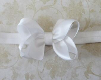 Infant White Satin Bow Headband - Baby Bow Headband - Infant Headband - White Headband - Satin Bow - Great Photo Prop