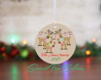 Family ornament, custom family ornament, family Christmas ornament,custom ornament, reindeer family ornament, family gift