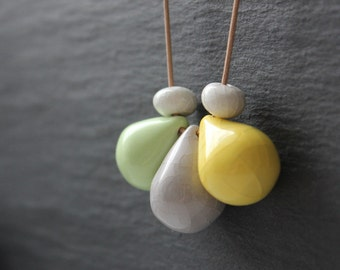 Small handmade ceramic drop beads - blue, yellow, gray and green pendant necklace