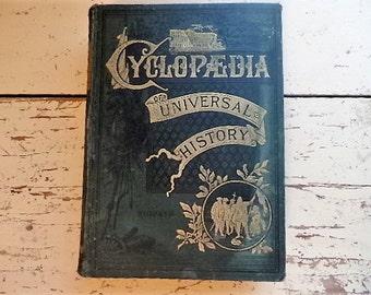 Antiquarian Book - CYCLOPEDIA of Universal HISTORY - 1885 - Ridpath - Collectible Book Decor