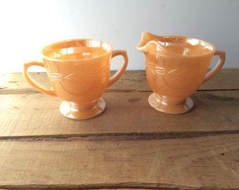 Vintage Fire King Luster Cream and Sugar Dishes Peach Lusterware  Footed Cream and Sugar Peach Lustre Embossed Leaf