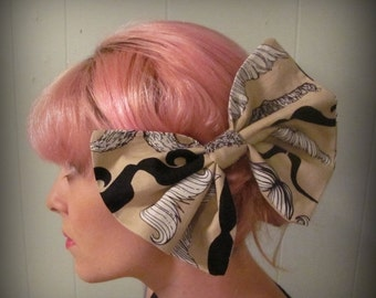 ON SALE Mustache Print Fabric Bow Hair Bow Tan Black and White Bow Tie
