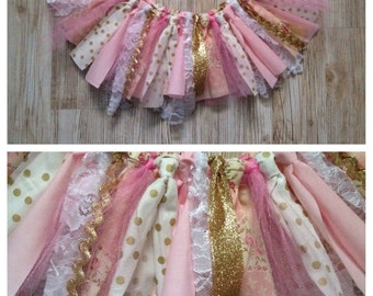 Shabby Chic Whimsical first Birthday one 1st Tutu pink mint gold tulle