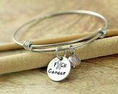 Personalized hand stamped Bangle Bracelet, breast cancer awareness jewelry, F*ck Cancer Bracelet, alex and ani, fuck cancer