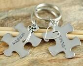 Personalized Keychain, Puzzle Piece Keychain, Hand Stamped Key chain, Personalized Puzzle Piece Keychain Set - Couple Keychain Set