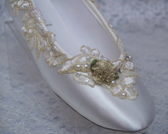Wedding Flats Ivory Gold Shoes Satin Appliques pearls sequins crystals, Gold Bling Bride,Gold Wedding, Ballet flats, Ivory & Gold