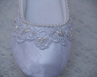 Brides Wedding White Flats Vegan Shoes hand stitched pearls edging and beaded Lace, Wedding Slipper, Victorian, Deco, Comfortable, Deco
