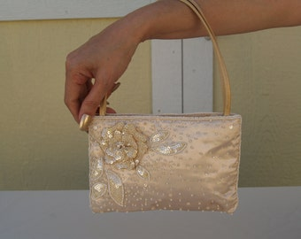 Brides Purse Champagne Satin with beaded, Vintage Champagne small handbag, wedding, formal evening wear accessory, small bag