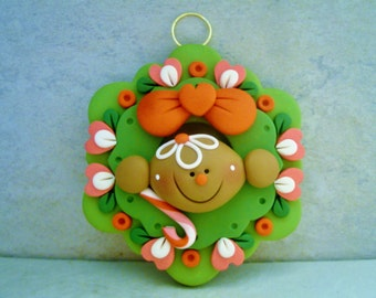 Gingerbread Man - Christmas Wreath - Polymer Clay - Holiday Ornament