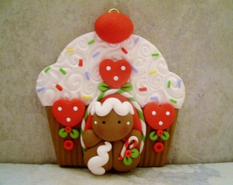 Gingerbread Man - Cupcake Gingerbread House - Polymer Clay - Holiday Ornament