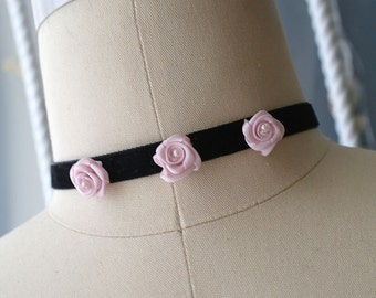 Statement Necklace Choker Black Velvet Pink Mini Rose Handmade Punk Rock , goth gothic Lolita cute steampunk