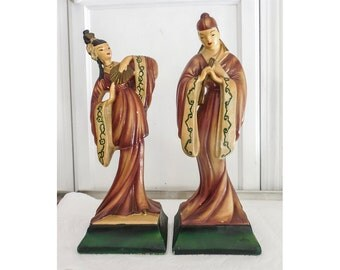 Mid Century Asian Statues Chalkware Hand Painted by Devonware