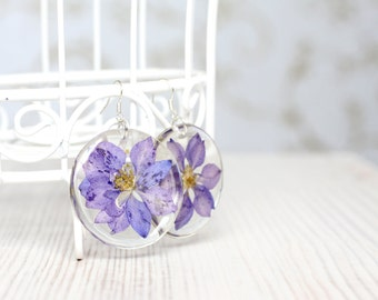 Purple Larkspur Earrings - Real flower earrings - Epoxy Resin Earrings