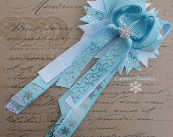 Snowflake Hair Bow, Large Frozen Bow, Long Tails Blue