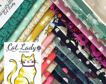 Cat Lady - Half Yard Bundle of 18 Cotton prints - Sarah Watts for Cotton + Steel - CATLADY-HY