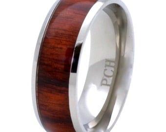 Titanium Hawaiian Koa Wood Wedding Band 8mm Comfort Fit Ring Men and Women's