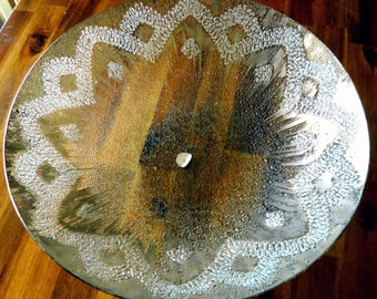 """1960's AUTHENTIC Dorothy C. Thorpe Brushed Sterling Silver Bowl--14"""" Diameter x 3"""" Deep--Textured Art Glass--Original Sticker"""