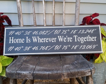Commemorative Sign - Gps Location Sign - Home is wherever we're together sign - You supply the memory