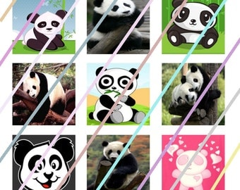 Panda (#2) 1 inch Square Tile Images 4x6 Digital Collage Sheet Instant Download