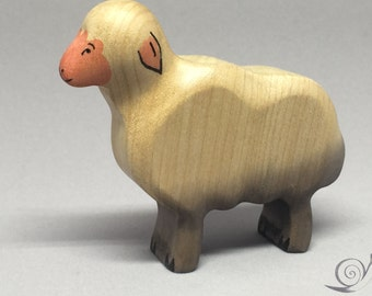 Toy Sheep wooden white grey pink colourful - standing with heads up Size: 8,0 x 7,0 x 2,0 cm (bxhxs)  approx. 29,5 gr.