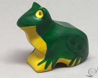 Toy Frog wooden colourful green yellow black Size: 6,5 x 5,0 x 2,7 cm (bxhxs)  approx. 23,5 gr.
