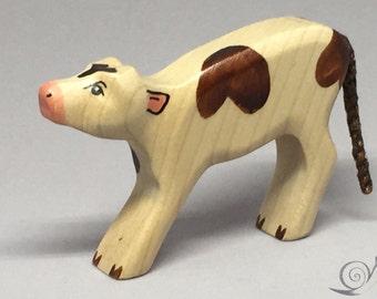 Toy calf wooden white  brown spots suckling Size: 7,5 x 8,5  x 2,0 cm (bxhxs) approx. 26,0 gr.