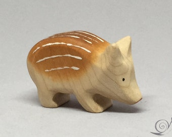 Toy wild boar piglet head down wooden brown Size: 5,0 x 3,0  x 1,6 cm (bxhxs) ca. 10,0 gr.