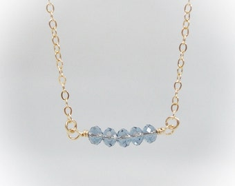 Dainty Gold Filled Necklace with Denim Blue Swarovski Crystals - Simple Everyday Necklace - Minimal Jewelry