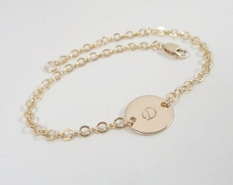 Gold Filled Personalized Bracelet - Monogram Bracelet - Hand Stamped Jewelry - Gold Initial Bracelet