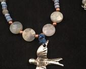 Bird necklace, hand beaded necklace, labradorite necklace, gemstone necklace, sari silk necklace, blue necklace, sari silk jewelry