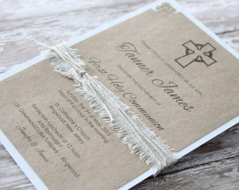 Rustic First Communion or Baptism Invitations